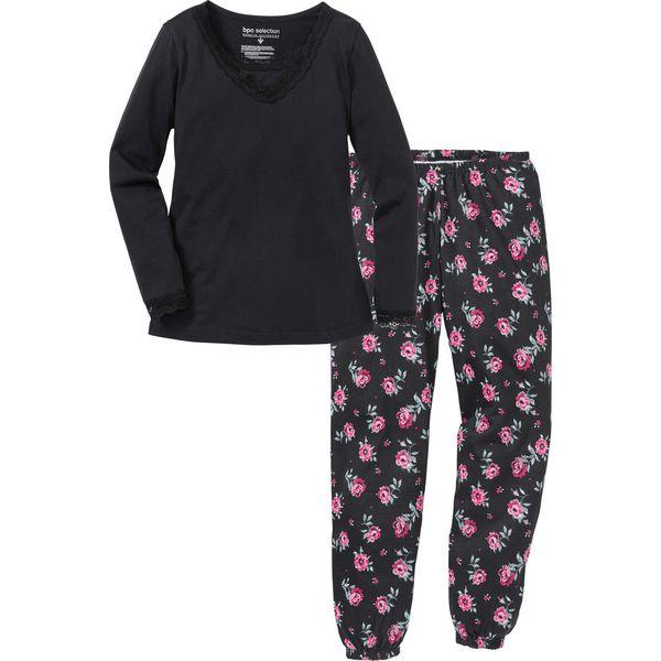 eb876a01b939c5 Piżama bonprix czarny w kwiaty - Piżamy damskie marki bonprix. Za ...