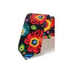 Krawat męski FOLK  w kwiaty łowickie CZARNY. Czarne krawaty i muchy Hisoutfit, w kwiaty, z materiału. Za 129.00 zł.