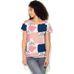 Colour Pleasure Koszulka CP-034  45 brzoskwiniowo-granatowo-różowa r. XS-S. Bluzki damskie Colour Pleasure. Za 70.35 zł.