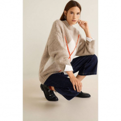 Mango - Sweter Steeve. Szare swetry damskie Mango, z dzianiny, z okrągłym kołnierzem. Za 159.90 zł.