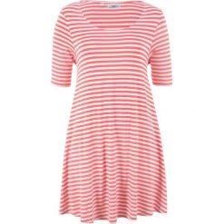 Tunika shirtowa, krótki rękaw bonprix koralowo-biel wełny w paski. Tuniki damskie marki bonprix. Za 89.99 zł.