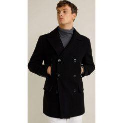 Mango Man - Płaszcz Dustin. Czarne płaszcze męskie Mango Man, z aplikacjami, z bawełny, klasyczne. Za 549.90 zł.