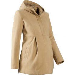 Płaszcz ciążowy z kapturem, z regulacją obwodu bonprix beżowy. Brązowe płaszcze damskie bonprix, na jesień. Za 124.99 zł.