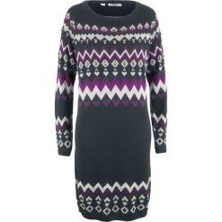 Sukienka dzianinowa bonprix czarny wzorzysty. Czarne sukienki damskie bonprix, z dzianiny. Za 139.99 zł.