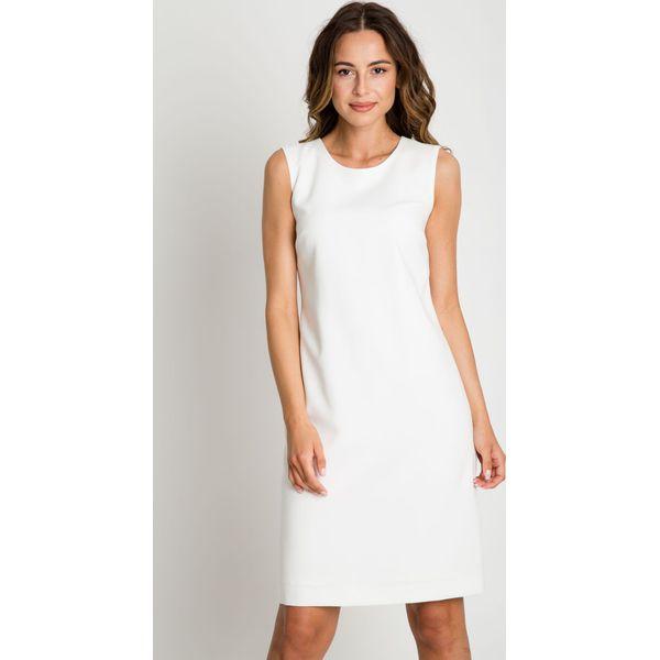 ff23afac Klasyczna dopasowana sukienka ecru KLASYKA BIALCON
