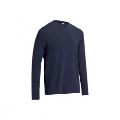 Koszulka długi rękaw Gym & Pilates męska. Niebieskie bluzki z długim rękawem męskie DOMYOS, z bawełny. Za 29.99 zł.