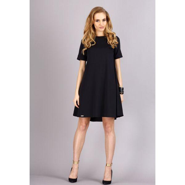 627fe6f077 Czarna Trapezowa Wygodna Sukienka z Krótkim Rękawem - Sukienki ...