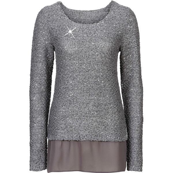 Fantastyczny Sweter z cekinami bonprix szary melanż - Swetry damskie marki YV54