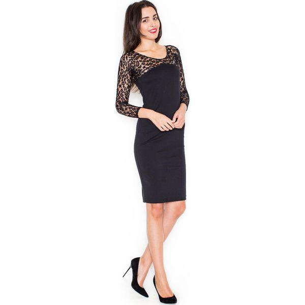 d923812097 Czarna Elegancka Ołówkowa Sukienka z Koronkowym Długim Rękawem ...