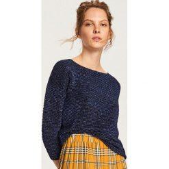 Sweter z błyszczącą nitką - Granatowy. Niebieskie swetry damskie Reserved. Za 69.99 zł.
