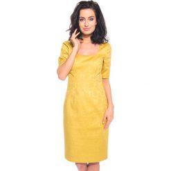 Żółta sukienka we wzory BIALCON. Żółte sukienki damskie BIALCON, glamour. W wyprzedaży za 133.00 zł.