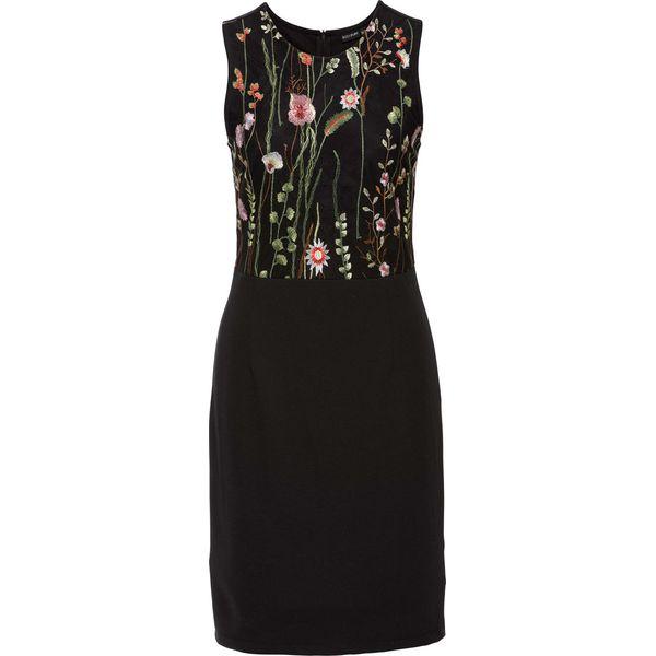 9f8c3f2cd2b3cf Sukienka z kwiatowym haftem bonprix czarny - Sukienki damskie ...