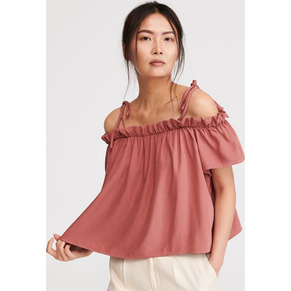Bluzka z odkrytymi ramionami Różowy