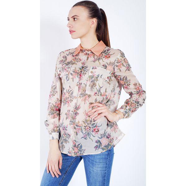 f52a8d6e850332 Koszula w kwiaty - Brązowe koszule damskie Twinset, z aplikacjami, z ...