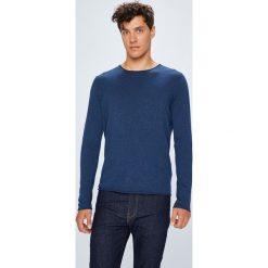 Selected - Sweter. Niebieskie swetry przez głowę męskie Selected, z bawełny, z okrągłym kołnierzem. W wyprzedaży za 129.90 zł.