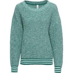 Sweter ze ściągaczem w paski bonprix dymny szmaragdowy - morski pastelowy melanż. Swetry damskie marki bonprix. Za 89.99 zł.
