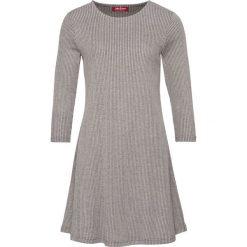 Sukienka shirtowa, rozkloszowana, rękawy 3/4 bonprix szary melanż. Szare sukienki damskie bonprix, melanż. Za 54.99 zł.