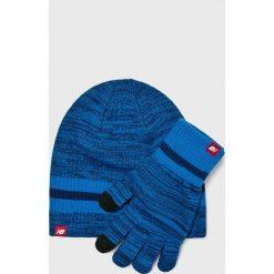 New Balance - Czapka + rękawiczki. Szare rękawiczki męskie New Balance, na zimę, z dzianiny. Za 129.90 zł.