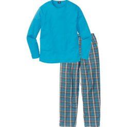 Piżama bonprix turkusowy w kratę. Niebieskie piżamy męskie bonprix. Za 69.99 zł.
