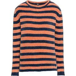 Sweter z szenili bonprix ciemnoniebiesko-miedziany metaliczny w paski. Swetry damskie marki bonprix. Za 79.99 zł.