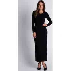 Długa czarna sukienka z rozporkiem na nodze BIALCON. Czarne sukienki damskie BIALCON, wizytowe, z długim rękawem. W wyprzedaży za 86.00 zł.