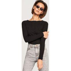 Koszulka z prążkowanej dzianiny - Czarny. Czarne t-shirty damskie Reserved, z dzianiny. Za 49.99 zł.