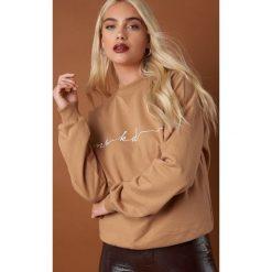NA-KD Trend Bluza Chest Branded - Beige. Brązowe bluzy damskie NA-KD Trend, z materiału. Za 161.95 zł.