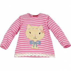"""Koszulka """"Katze"""" w kolorze jasnoróżowym. Czerwone bluzki dla dziewczynek Bondi, z aplikacjami, z bawełny, z okrągłym kołnierzem, z długim rękawem. W wyprzedaży za 37.95 zł."""