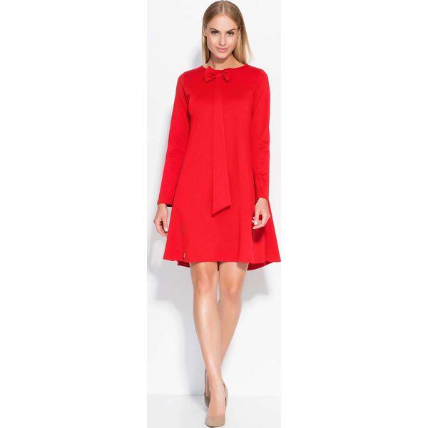 4995694869 Czerwona Sukienka Trapezowa z Krawatką i Kokardą - Sukienki damskie ...