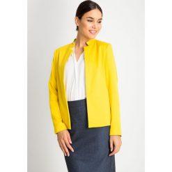 Żółty żakiet bez zapięcia QUIOSQUE. Żółte żakiety damskie QUIOSQUE, z jeansu, eleganckie. W wyprzedaży za 139.99 zł.