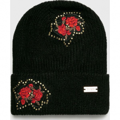 Guess Jeans - Czapka. Czarne czapki i kapelusze damskie Guess Jeans, z dzianiny. Za 169.90 zł.