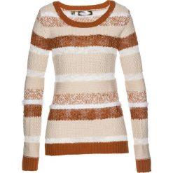 Sweter bonprix beżowo-szaro-brązowo-biel wełny. Swetry damskie marki bonprix. Za 79.99 zł.