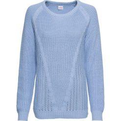 Sweter bawełniany, długi rękaw bonprix perłowy niebieski. Swetry damskie marki bonprix. Za 59.99 zł.
