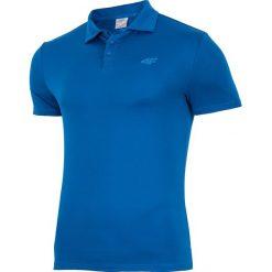 Koszulka treningowa polo męska TSMF004 - niebieski ciemny. Niebieskie koszulki polo męskie 4f, na lato, z materiału. W wyprzedaży za 99.99 zł.