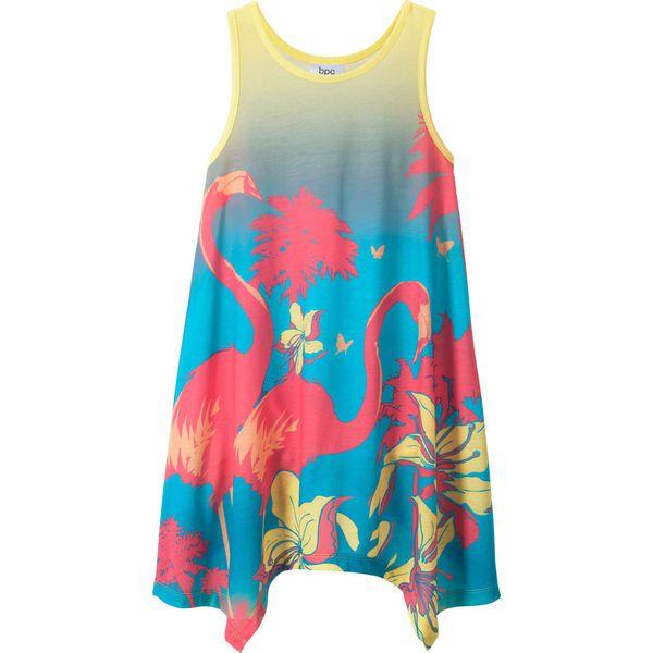ba3c05f4 Sukienka plażowa dziewczęca bonprix jasnoróżowo-jasna limonka - niebieski