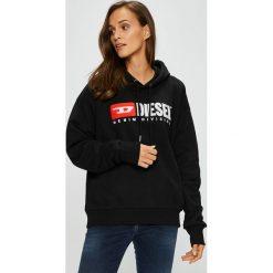 Diesel - Bluza. Czarne bluzy damskie Diesel, z aplikacjami, z bawełny. W wyprzedaży za 599.90 zł.