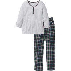 Piżama bonprix jasnoszary melanż w kratę. Szare piżamy damskie bonprix, melanż. Za 49.99 zł.