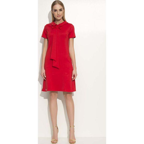 00d0d197ba Czerwona Sukienka Trapezowa Midi z Kołnierzykiem i Krawatem ...