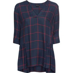 6593d896e1c500 Bluzka tunikowa w kratę bonprix ciemnoniebiesko-ciemnoczerwony w kratę.  Bluzki damskie marki bonprix.