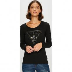 Guess Jeans - Bluzka. Czarne bluzki damskie Guess Jeans, z aplikacjami, z bawełny, z okrągłym kołnierzem. Za 229.90 zł.