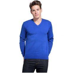 William De Faye Sweter Męski L Niebieski. Niebieskie swetry przez głowę męskie William de Faye, z kaszmiru, dekolt w kształcie v. Za 259.00 zł.