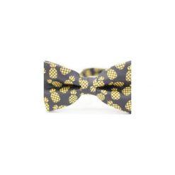 Mucha Pineapple. Czarne krawaty i muchy Edyta kleist, w paski, z tkaniny, eleganckie. Za 99.00 zł.