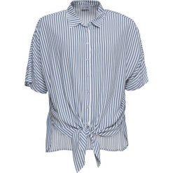Bluzka z krótkim rękawem i przewiązaniem bonprix biel wełny - matowy niebieski w paski. Bluzki damskie marki DOMYOS. Za 74.99 zł.