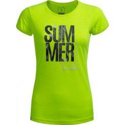 T-shirt damski TSD618 - żółty neon - Outhorn. Żółte t-shirty damskie Outhorn, z nadrukiem, z bawełny. W wyprzedaży za 29.99 zł.