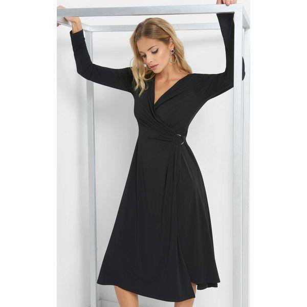 21f7ae1aa0 Kopertowa sukienka midi - Czarne sukienki damskie marki Orsay