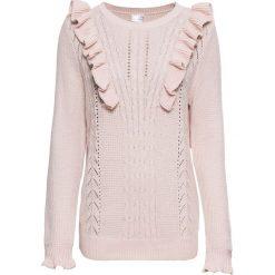 Sweter z falbanami bonprix pastelowy jasnoróżowy. Swetry damskie marki KALENJI. Za 89.99 zł.