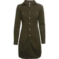 Sukienka z guzikami bonprix ciemnooliwkowy. Zielone sukienki damskie bonprix. Za 129.99 zł.