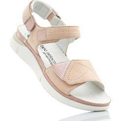 Wygodne sandały skórzane bonprix dymny różowy. Sandały damskie marki bonprix. Za 109.99 zł.