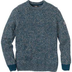 Sweter z okrągłym dekoltem Regular Fit bonprix niebieskozielono-szary melanż. Swetry przez głowę męskie marki Giacomo Conti. Za 49.99 zł.