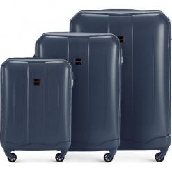 Zestaw walizek 56-3A-37S-90. Niebieskie walizki damskie Wittchen, z gumy. Za 499.41 zł.